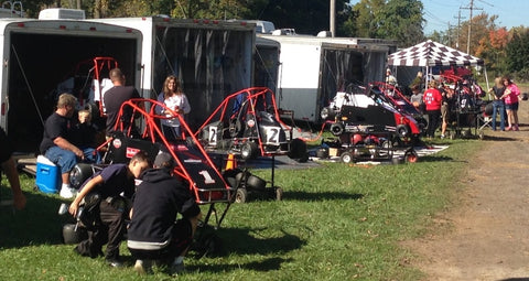 Pit Row at Quarter Midget Race Sponsored by Pit Products.  Trailers everywhere!