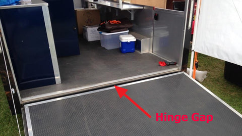 ... he mentioned that there was a handy product we manufacture that is specifically designed to bridge the gap between the trailer floor and trailer door. & Trailer Door Slide Plates Installed at Tractor Pull   Pit Products