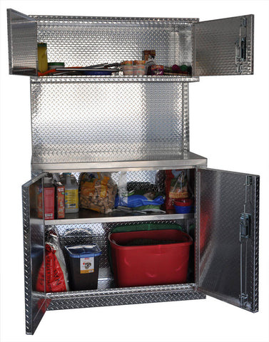 "Garage & Shop Combination 4 Foot Base with Overhead Cabinet - Deluxe, (48""L x 80""H  x 22""D), Aluminum"