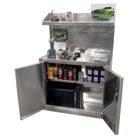 "Garage & Shop Combination 4 Foot  Base Cabinet with Overhead Shelf - Deluxe, (48""L x 70""H  x 22""D), Aluminum"