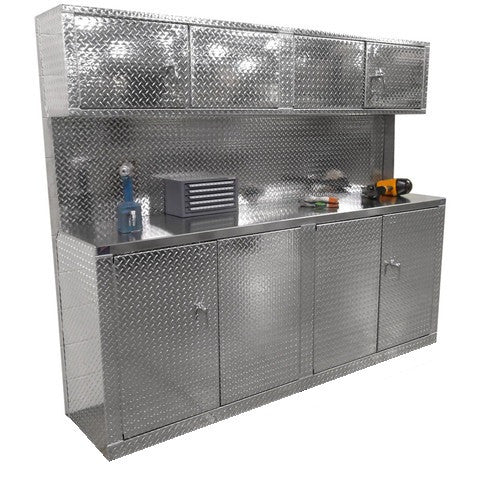 "Combination 8 Foot Base Cabinet with Overhead Cabinet - Deluxe, (96""L x 80""H  x 22""D), Aluminum"