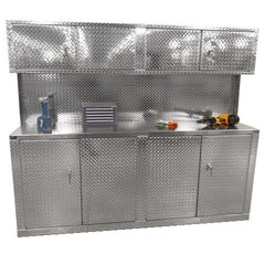 Combination 8 Foot Base Cabinet with Overhead Cabinet - Deluxe - Aluminum