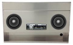 "Trailer Radio Enclosure Cabinet, Single Din, Pre Cut 6"" Speaker Holes (24""L x 15""H  x 8""D), Aluminum"