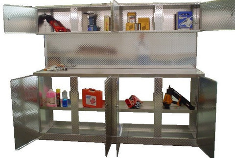 "Trailer Combo Cabinet, 8 Foot Base with Overhead, (96""L x 78""H  x 22""D), Aluminum"