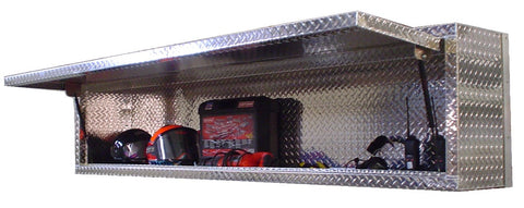 "Overhead Trailer Cabinet - 6 Foot (72""L x 22""H  x 14""D), Aluminum Gas Charged Door, Aluminum"