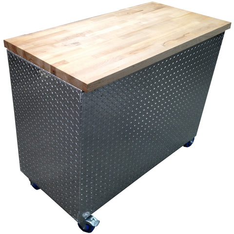 "Garage & Shop Rolling Workbench Storage Cabinet - 4 Ft, (48""L x 39""H  x 22""D), Aluminum & Butcher Block"