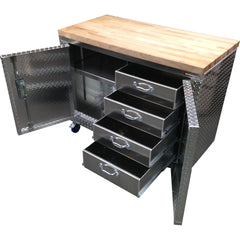 Rolling Workbench Storage Cabinet, Aluminum & Butcher Block
