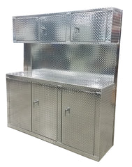 "Combination 6 Foot Base Cabinet with Overhead Cabinet - Deluxe, (72""L x 80""H  x 22""D), Aluminum"
