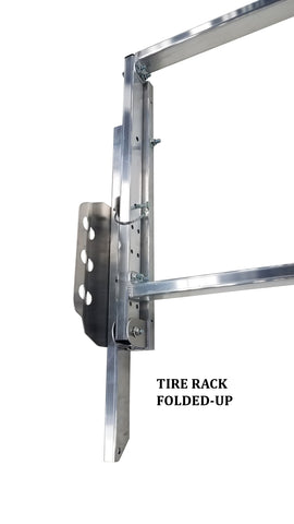 Deluxe Flip-up Tire Rack for Trailer, Garage or Workshop - 4', 5', 7', 9', 12' or 14'