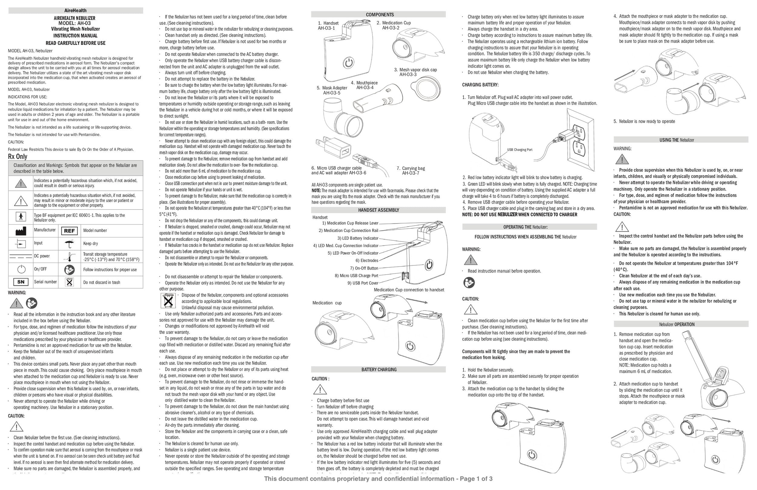 Page 1 of English Instructions For Use of AireHealth Portable Nebulizer