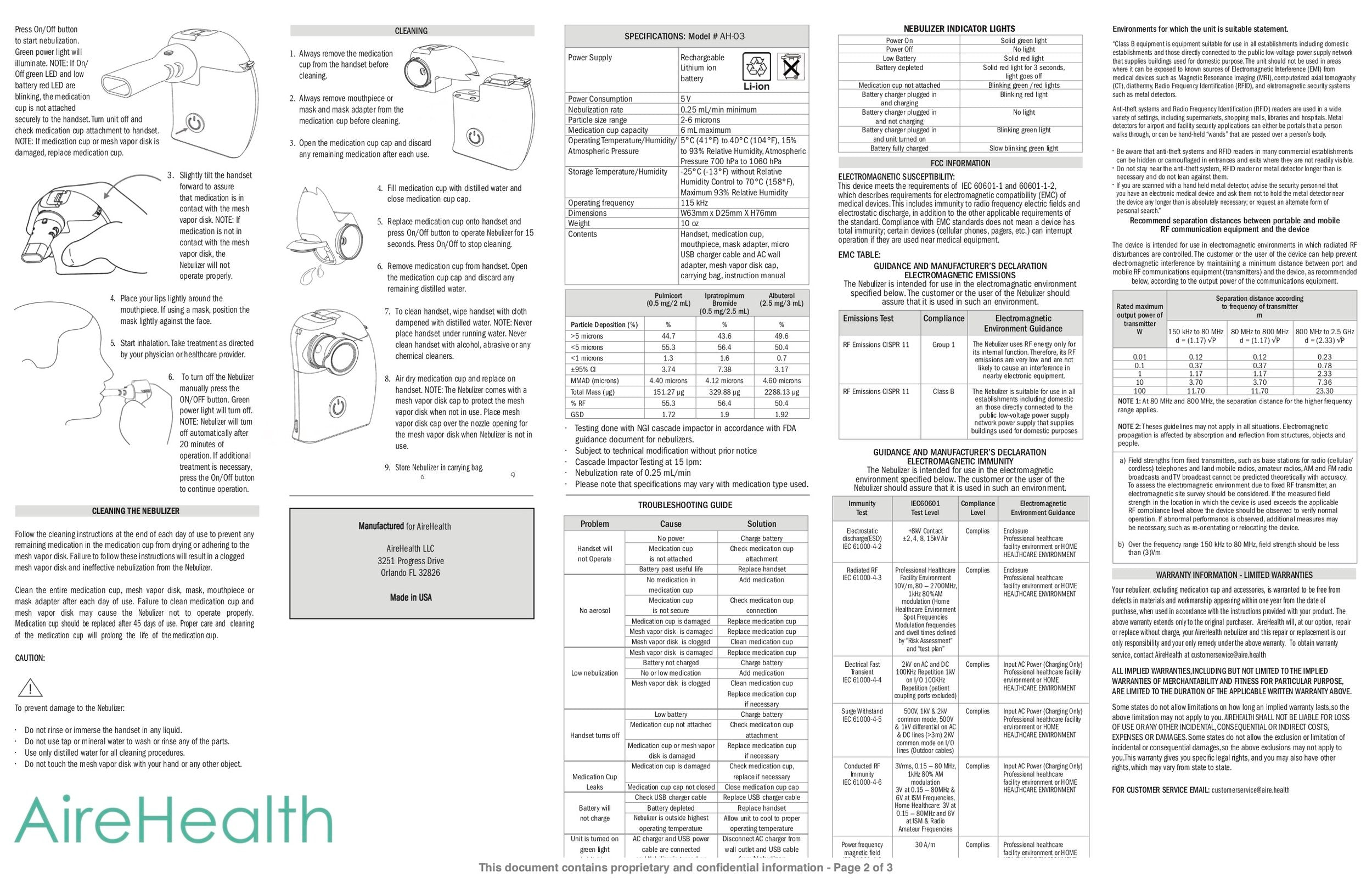 Page 2 of English Instructions For Use of AireHealth Portable Nebulizer