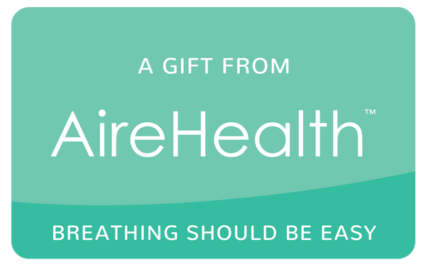 AireHealth Green Gift Card That Says Breathing Should be Easy