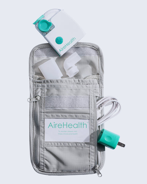 AireHealth Portable Nebulizer Kit Products Inside Portable Carrying Bag