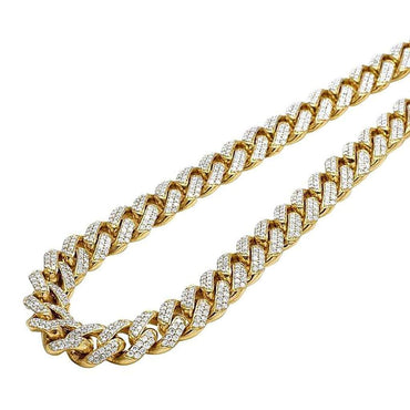 Cuban Diamond Chain Necklace 10k Gold 7.92ct Round Diamond by Fehu Jewel