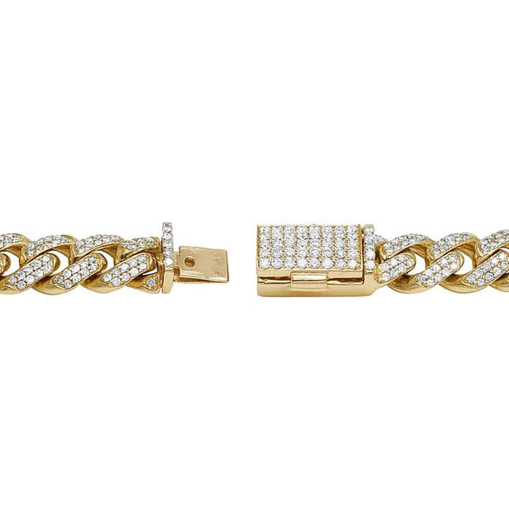10k Gold Cuban Link Chain for Men 5.37ct Round Diamond by Fehu Jewel