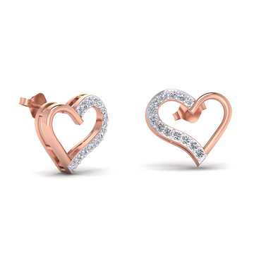 Rose Gold Heart Shaped Diamond Earrings