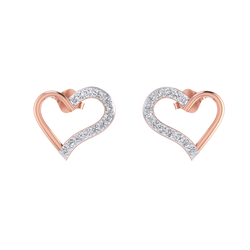 10k Gold with 1/4ct Natural Diamonds Heart Shaped Earrings for Womens & Girls