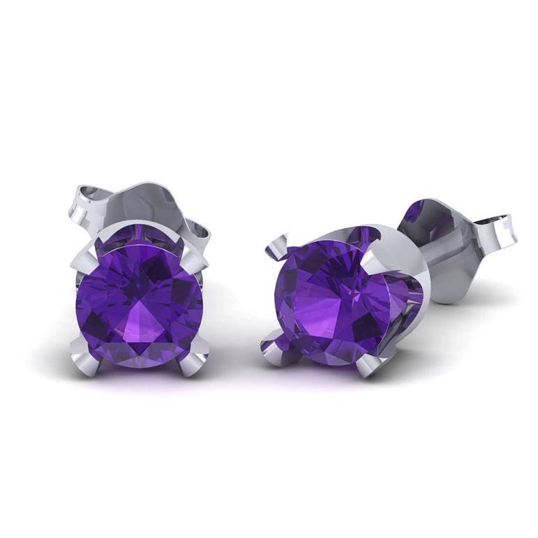 4.5mm Gold Plated Over Sterling Silver Purple Amethyst Gemstone Stud Earring for Women