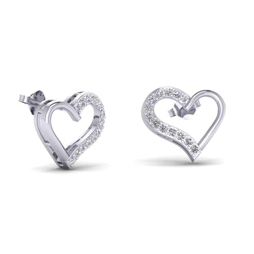 14k Gold with 1/4ct Natural Diamonds Heart Shaped Earrings for Womens & Girls