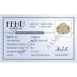 Beehive Pattern Round Halo Diamond Ring for Men 14k Gold by Fehu Jewel