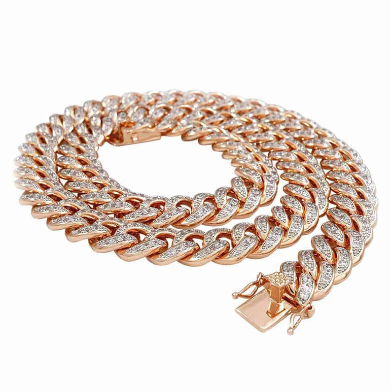 Gold Cuban Link Chain for Men rose gold