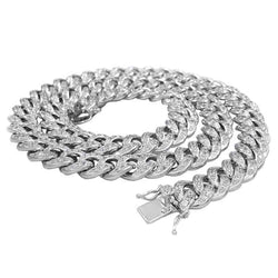 Round Diamonds white Gold Cuban Link Chain