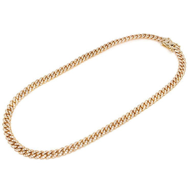 Round Diamonds yellow Gold Cuban Link Chain