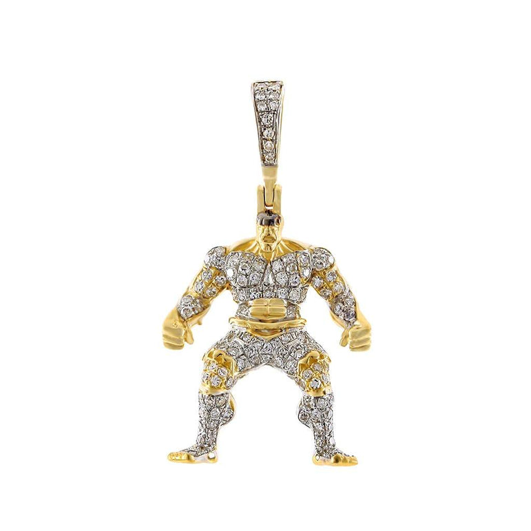 Hulk Pendant 10k Gold 3/8ct Colored & Natural Diamond by Fehu Jewel