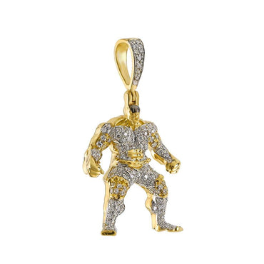 Hulk Pendant 14k Gold 3/8ct Colored & Natural Diamond by Fehu Jewel
