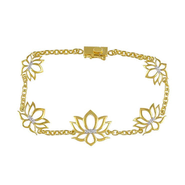 Lotus Bracelet for Women yellow gold