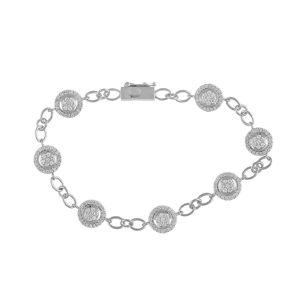 Round Shape Diamond Bracelet for Women white gold