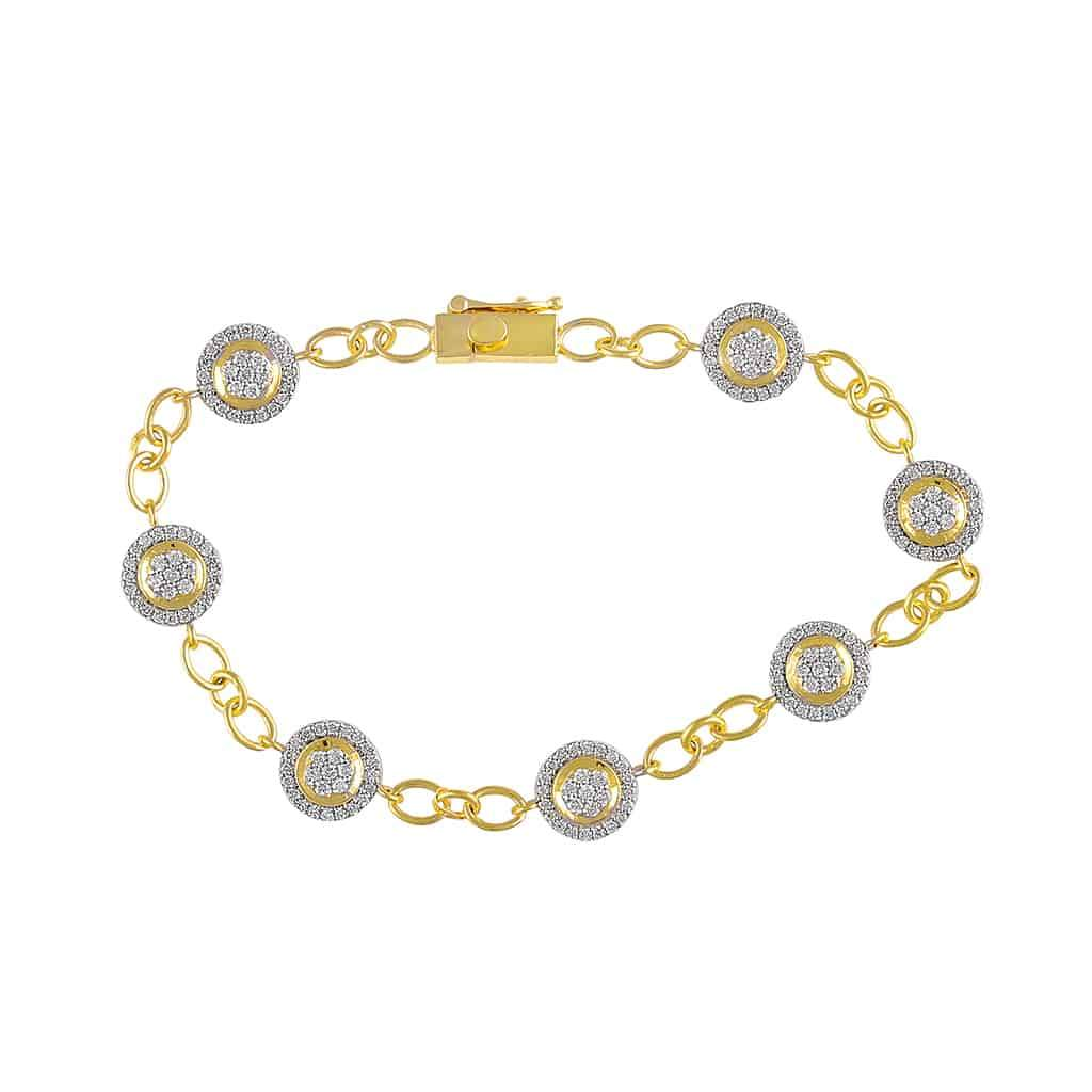 Round Shape Diamond Bracelet for Women yellow gold