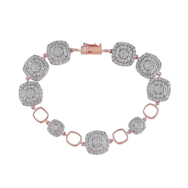rose gold Rounded Square Diamond Bracelet for Women