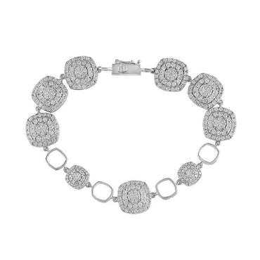 white gold Rounded Square Diamond Bracelet for Women