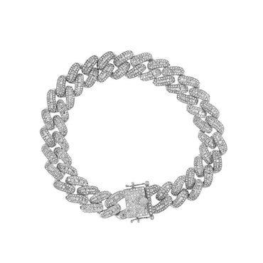Baguette Iced Out Cuban Bracelet for Men white gold