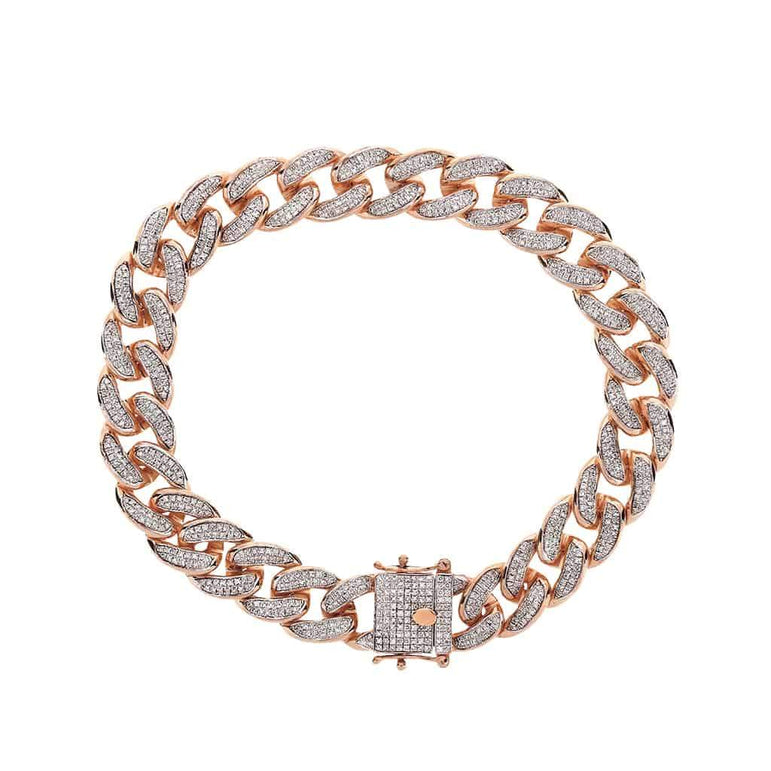 Iced Out Cuban Link Bracelet for Men rose gold