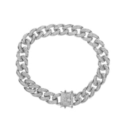 Iced Out Cuban Link Bracelet for Men white gold