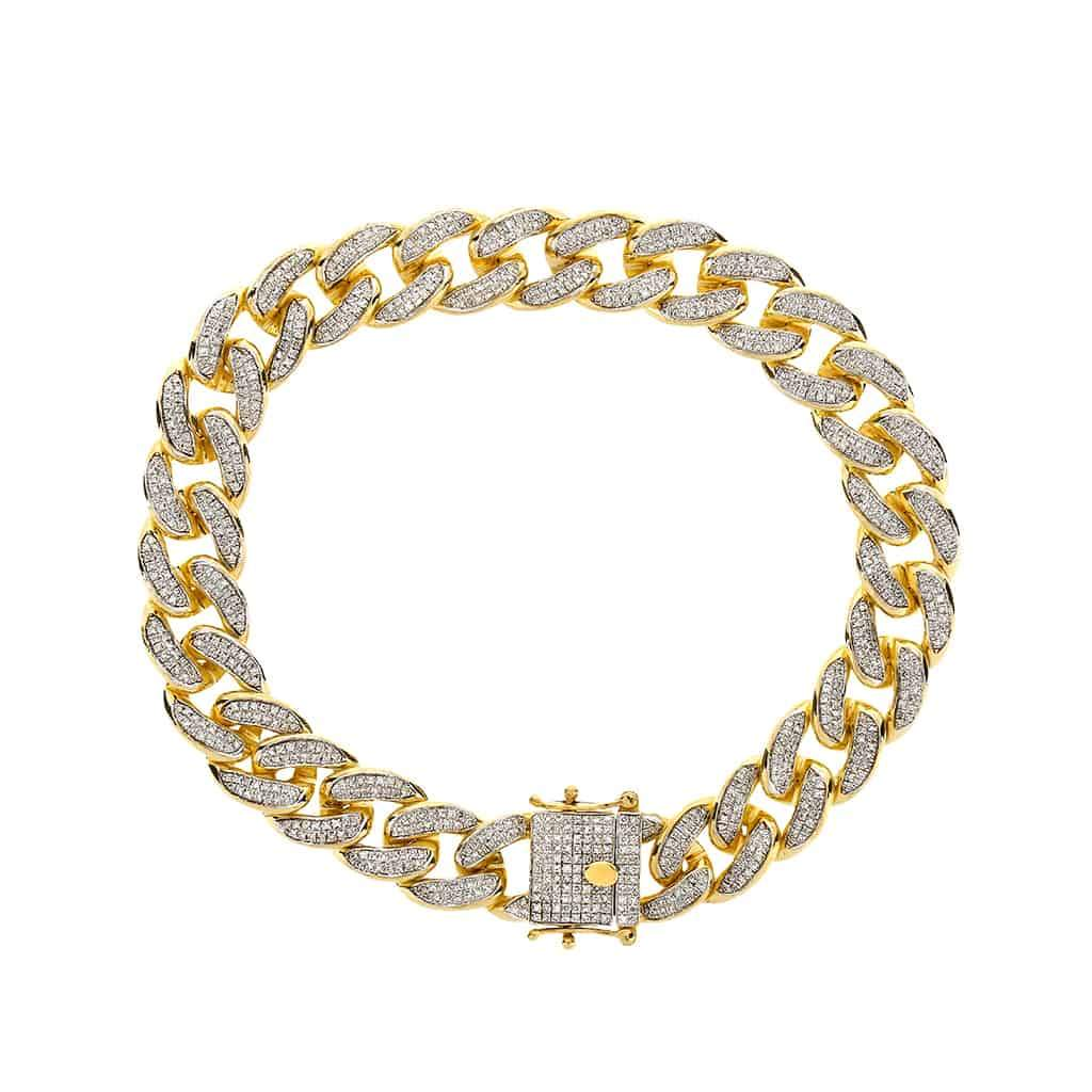 Iced Out Cuban Link Bracelet for Men yellow gold