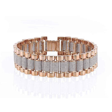Mens Diamond Bracelet rose gold