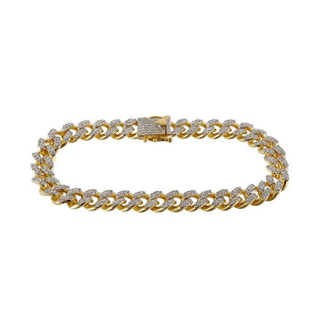 Cuban Bracelet 3.13 Cts. Natural  Round Diamond