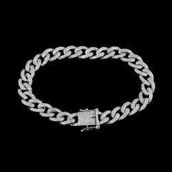 Cuban Link Bracelet for Men white gold