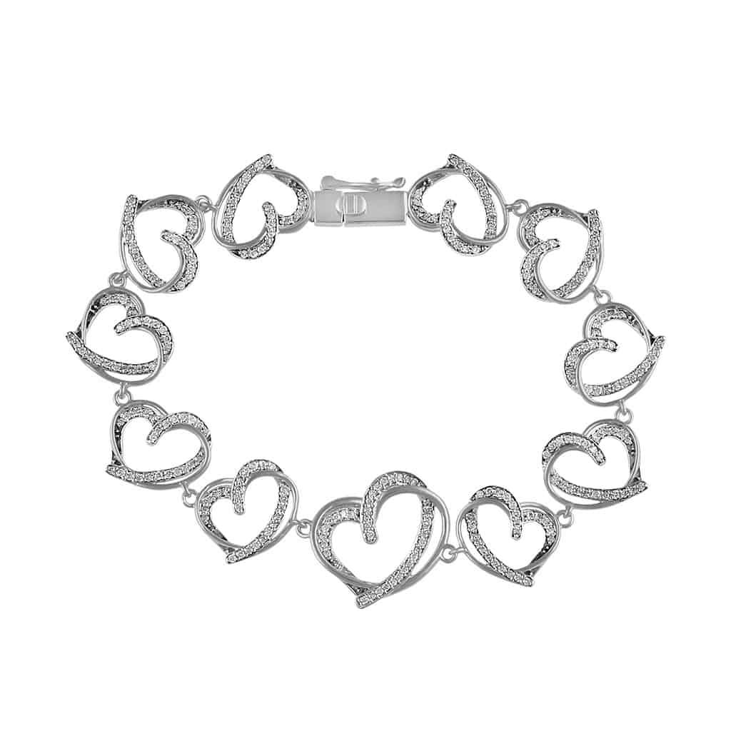 Open Heart Bracelet for Women white gold