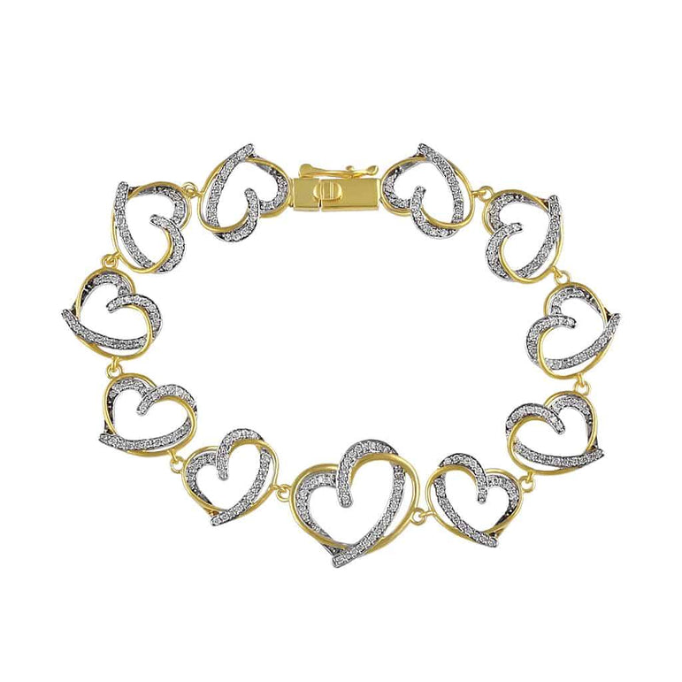 Open Heart Bracelet for Women yellow gold