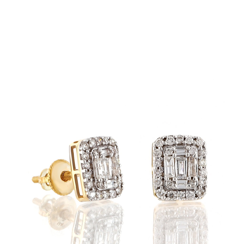 3/8ct. Baguette And Round Diamond Earrings 14K, 10K, Gold & 925 Silver  By Fehu Jewel