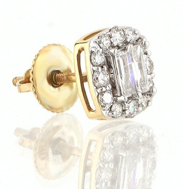 3/4ct. Baguette And Round Diamond Earrings 14K, 10K, Gold & 925 Silver  By Fehu Jewel