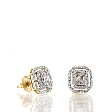 1/2ct. Baguette And Round Diamond Earrings 14K, 10K, Gold & 925 Silver  By Fehu Jewel