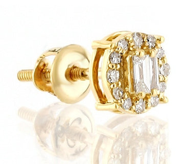 1/5ct. Baguette And Round Diamond Earrings 14K, 10K, Gold & 925 Silver  By Fehu Jewel