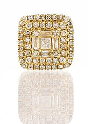 5/8ct. Baguette And Round Diamond Earrings 14K, 10K, Gold & 925 Silver  By Fehu Jewel