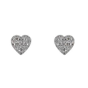0.27ct. Baguette And Round Diamond Heart Shape Earrings 14K, 10K, Gold & 925 Silver  By Fehu Jewel