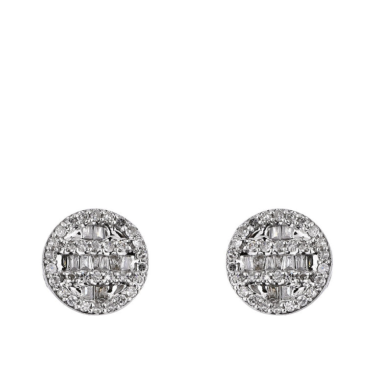 1/3ct. Baguette And Round Diamond Earrings 14K, 10K, Gold & 925 Silver  By Fehu Jewel